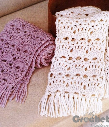 crochet lace scarf white and purple big photo
