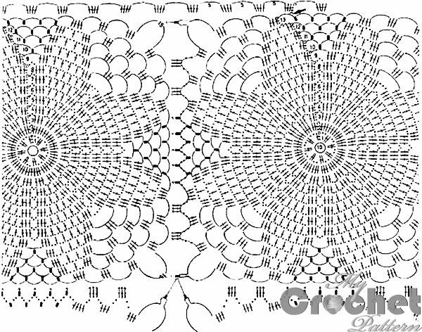 stitch scheme of crochet scarf with blue daisies