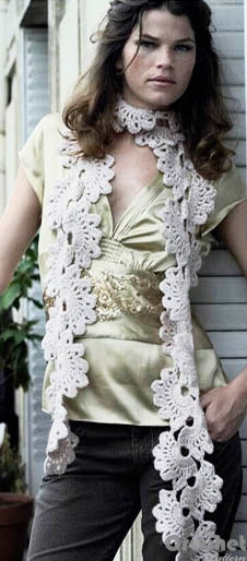 crochet scarf with flowers lace photo