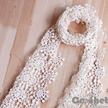 crochet scarf with lace flowers photo
