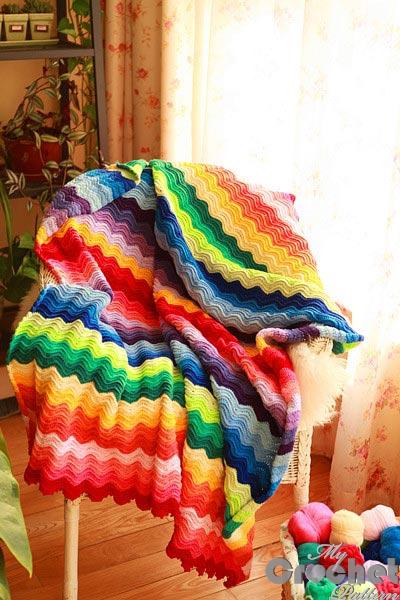 Crochet colorful blanket Rainbow photo