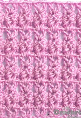 Crochet openwork pattern with cluster & shell preview