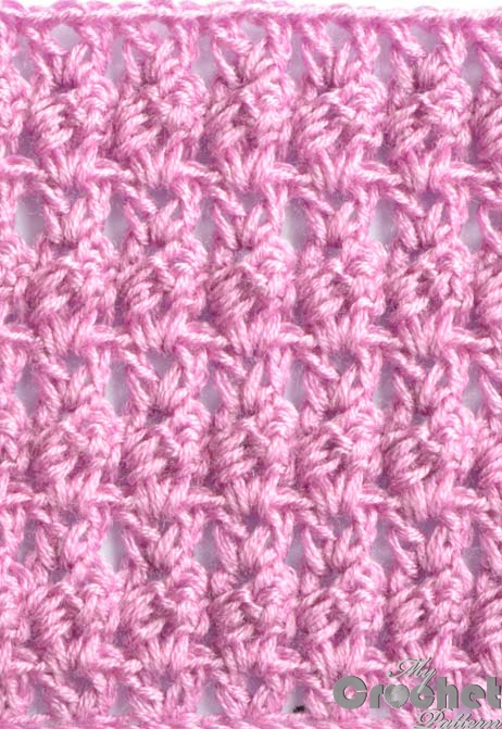 Pink crochet openwork pattern with cluster & shell preview