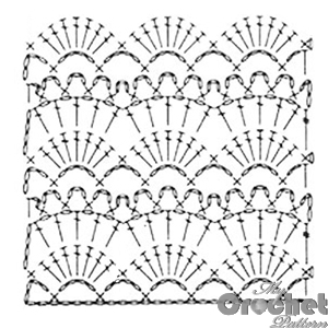 Lace shell with fans Crochet pattern with stitch scheme