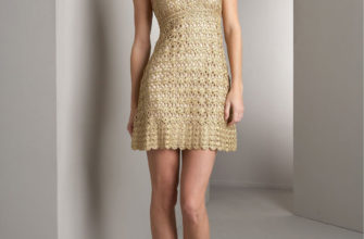Golden crochet mini dress