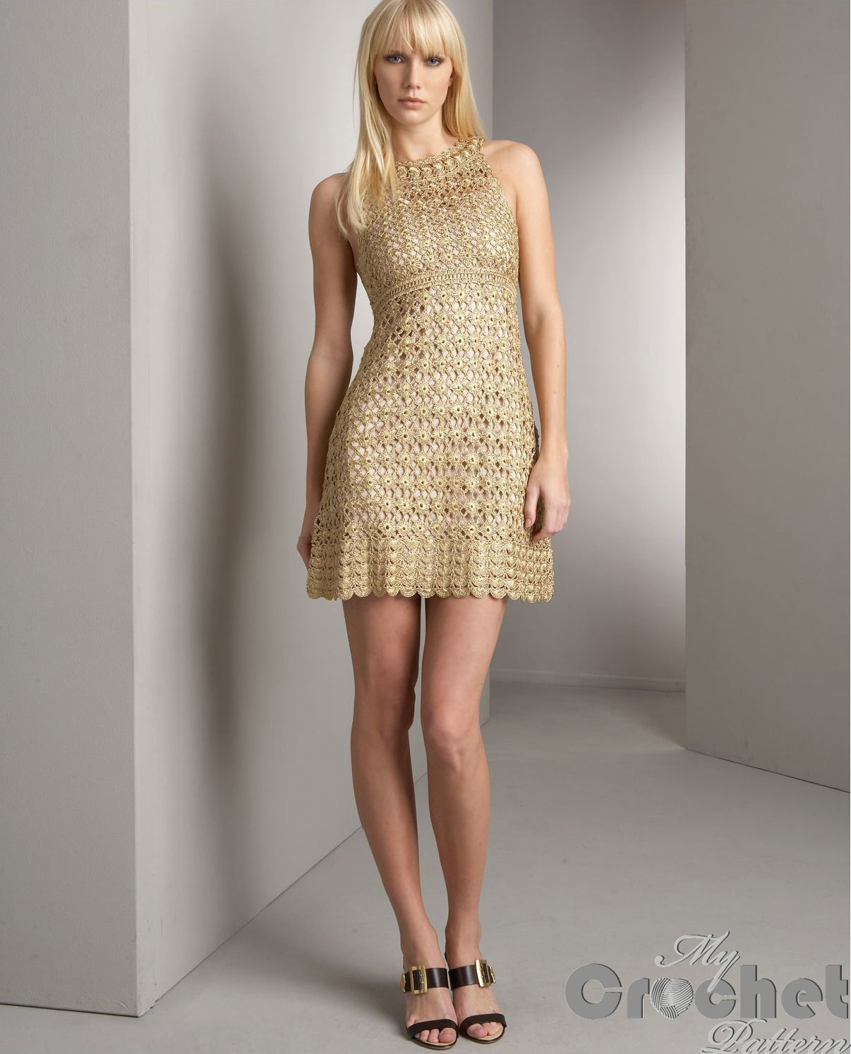 Golden crochet mini dress photo