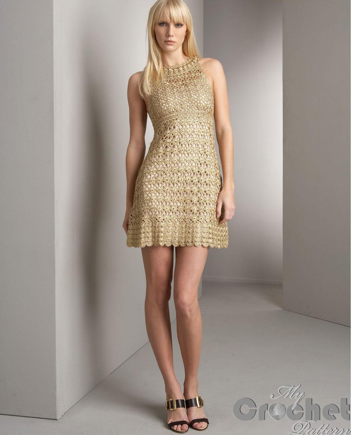 Golden crochet mini dress photo