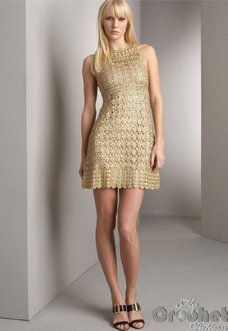 Golden crochet mini dress preview