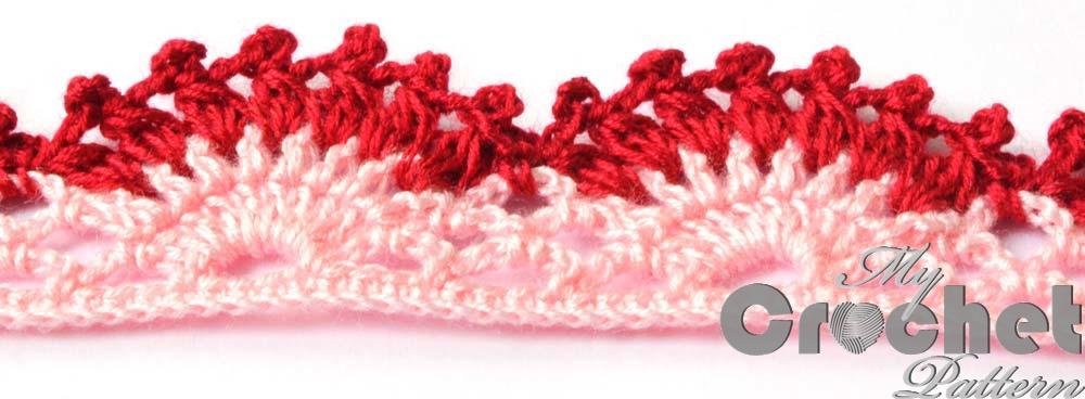 Gorizontal lace crochet edging pattern close up photo