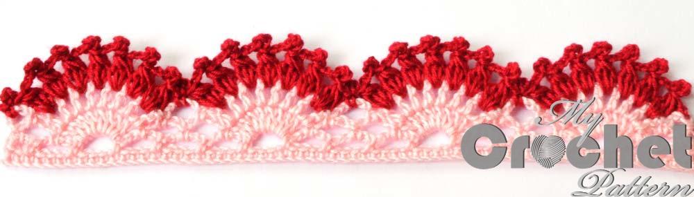 Gorizontal lace crochet edging pattern whole composition photo