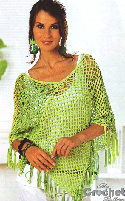 Light green crochet poncho photo