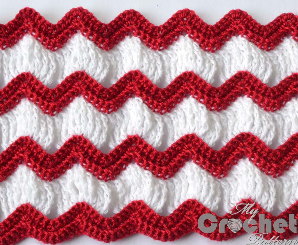 Vintage Afghan Crochet Pattern With Red And White Stripes