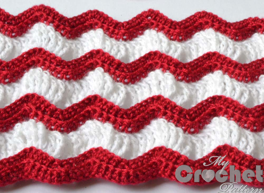 Vintage afghan crochet pattern with red and white stripes ...