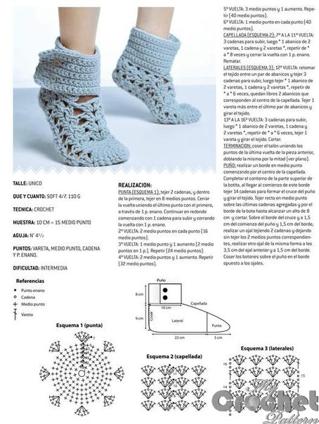 stitch scheme of lace socks with buttons