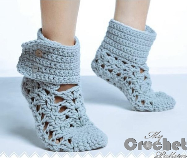 crocheted blue lace socks with buttons photo