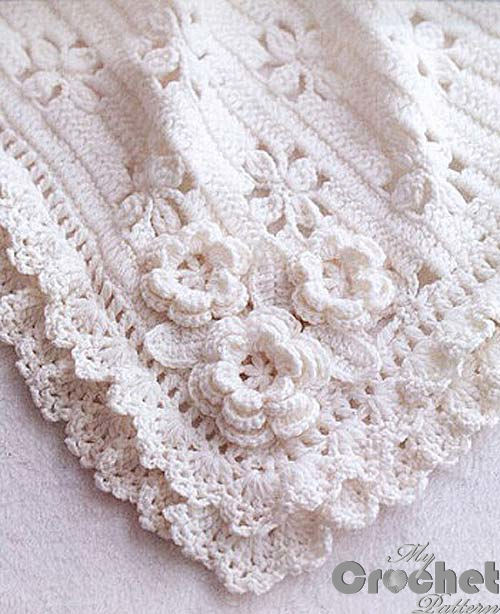 white crochet blanket for babies photo