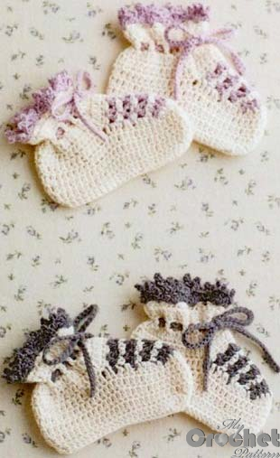 white crochet baby booties photo