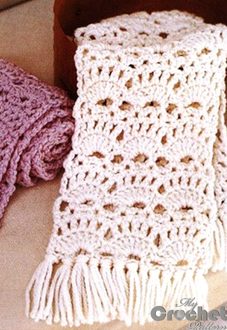white and purple crochet lace scarfves photo preview