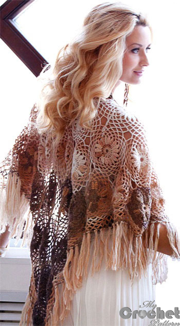 white and brown crochet shawl with flowers photo