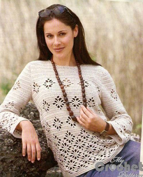 Crochet sweater with filet pattern photo