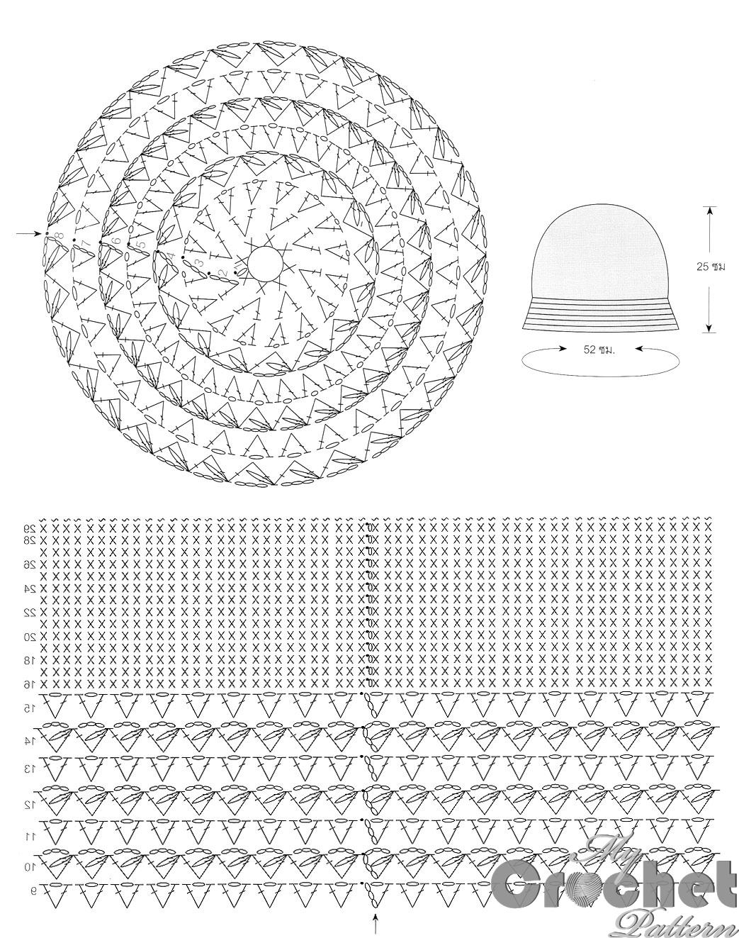 blue crochet hat pattern - stitch scheme