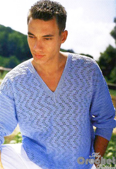 Blue crochet sweater pattern for men with filet preview