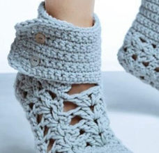 Blue lace socks pattern with buttons preview