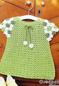 Green baby dress with floral sleeves preview