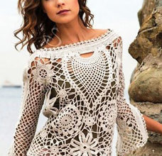 White lace crochet sweater photo
