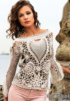 8c22abcdc002d White crochet sweater with lace motifs pattern