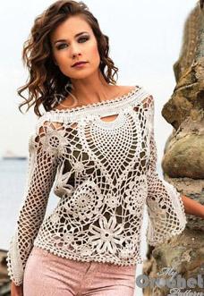 White lace crochet sweater photo