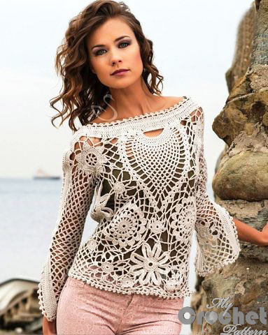 crochet lase sweater photo