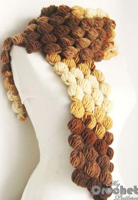 Brown Scarf Of Lush Popcorn Crochet Pattern Mycrochetpattern