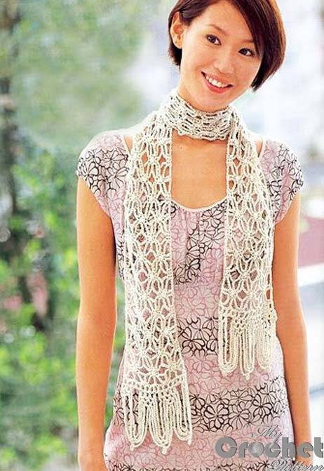 Delicate white crochet scarf with openwork and spider pattern ...