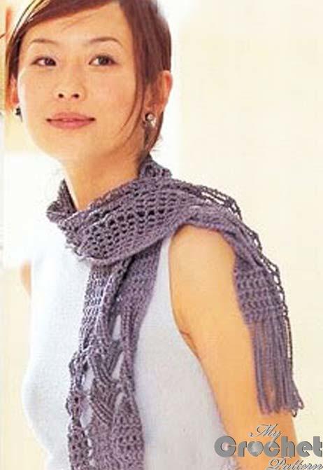 purple crosswise crochet scarf photo