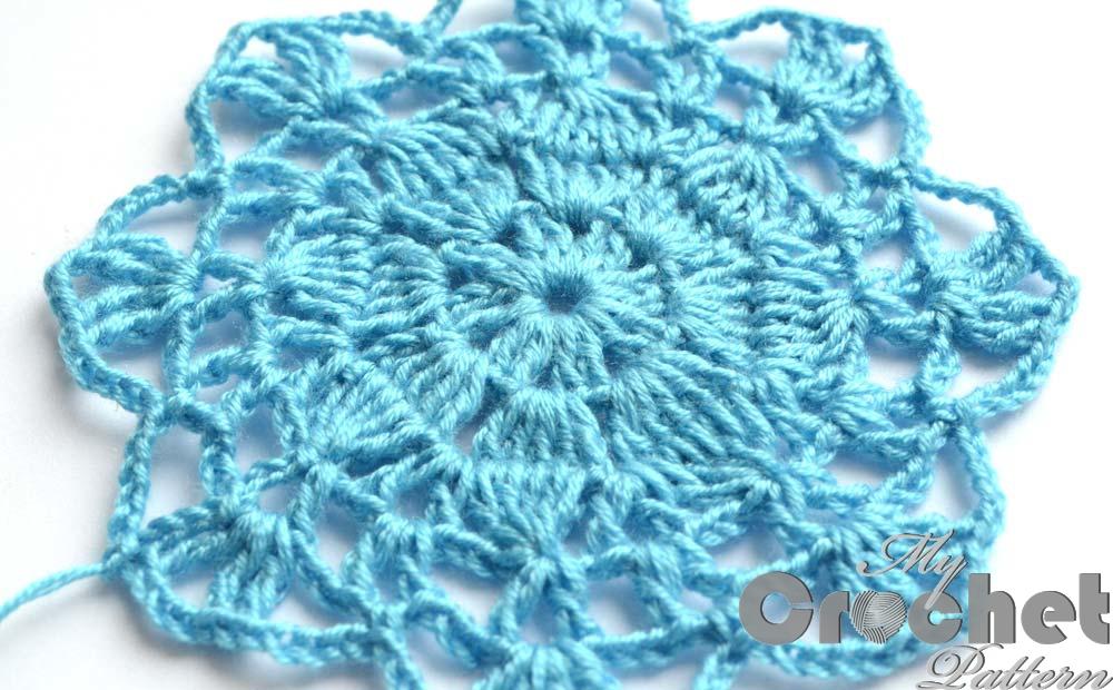 blue big flower motif close photo 2