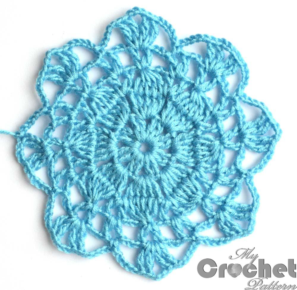 blue big flower motif huge photo