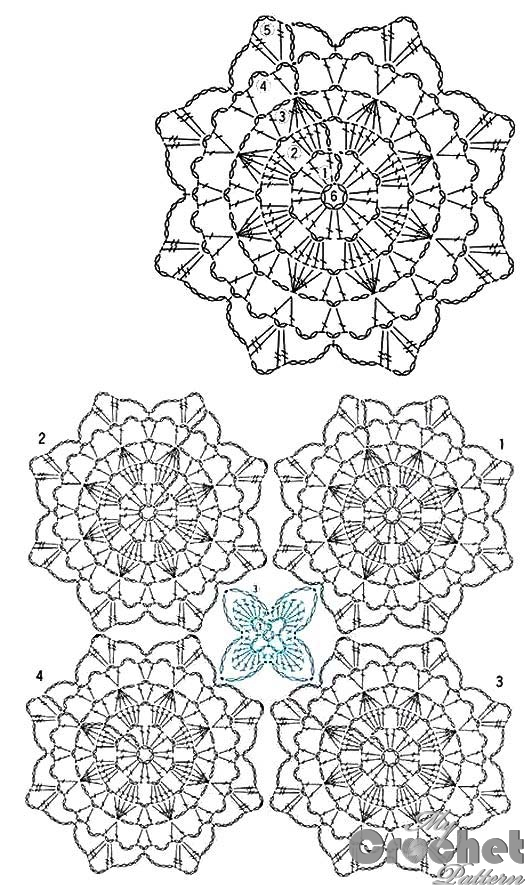 blue big flower motif pattern