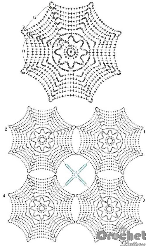 blue spider web crochet pattern
