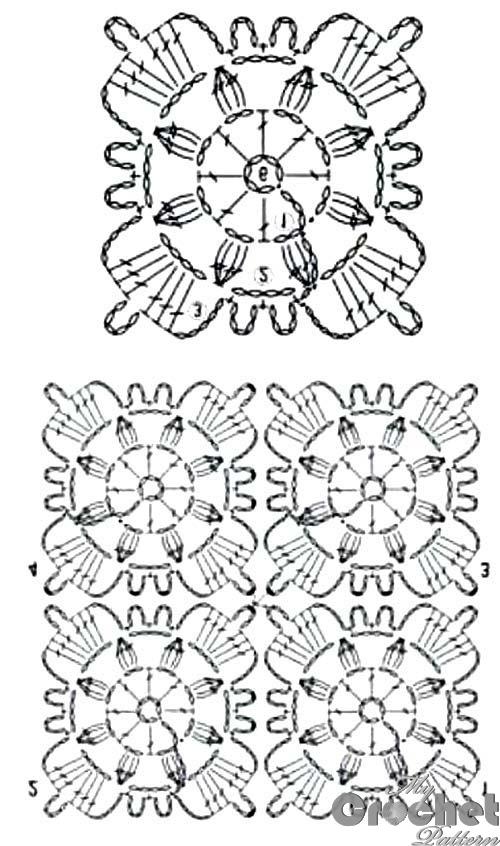 blue square flower motif pattern