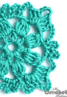 blue square flower motif
