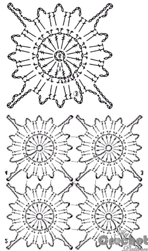 brown sunflower crochet motif pattern
