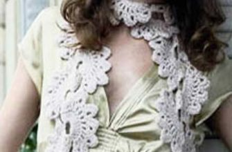 crochet lace scarf with big flowers photo
