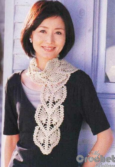 crochet scarf with openwork leaves photo