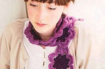 crochet scarf with purple flowers motif photo