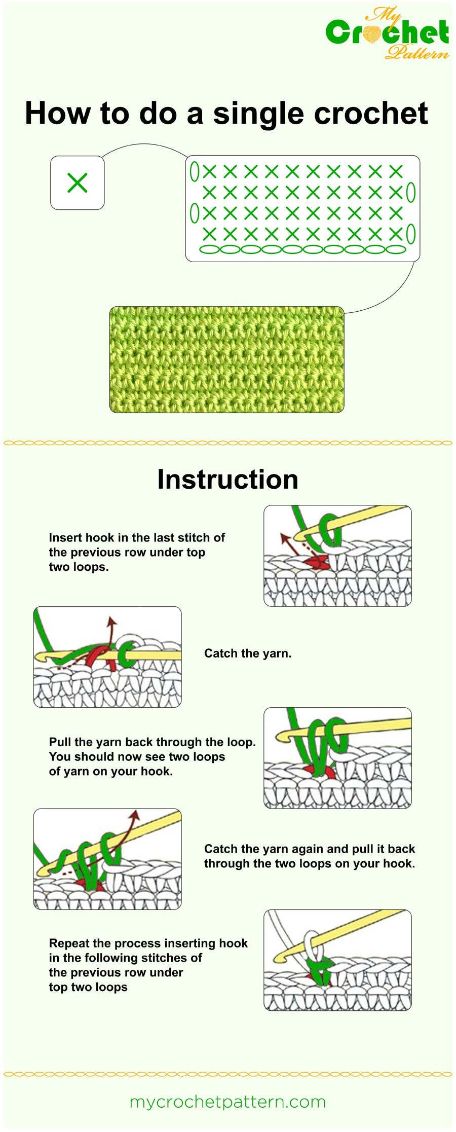 how to do a single crochet - infographic