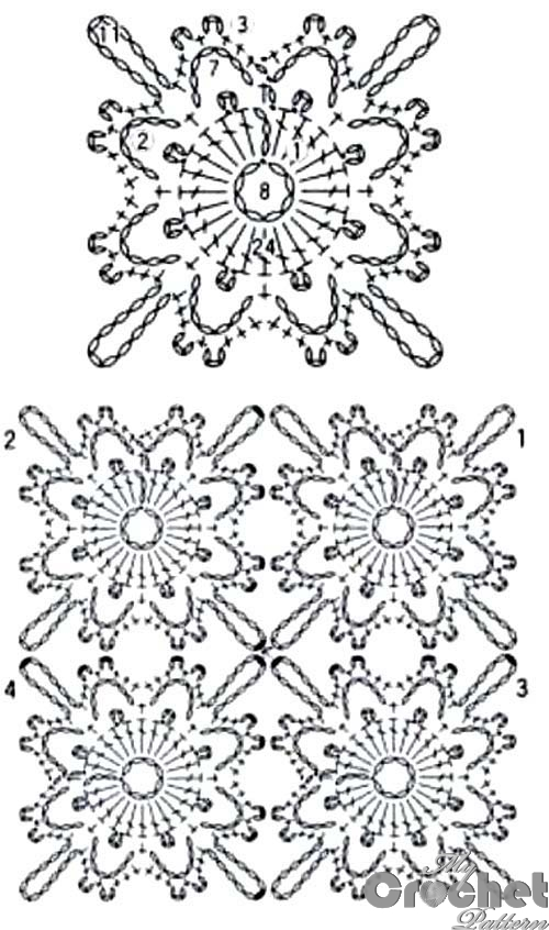 lemon square flower motif pattern