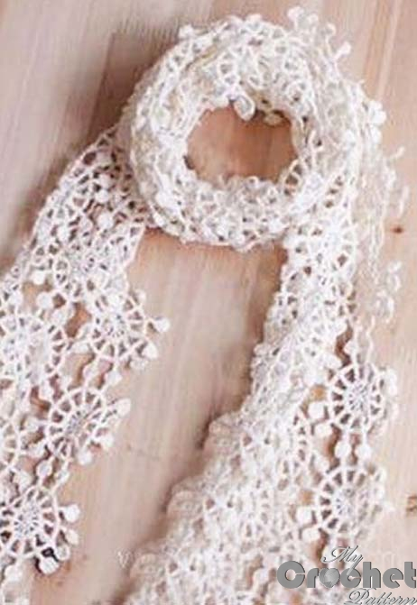 light white scarf with delicate flowers photo