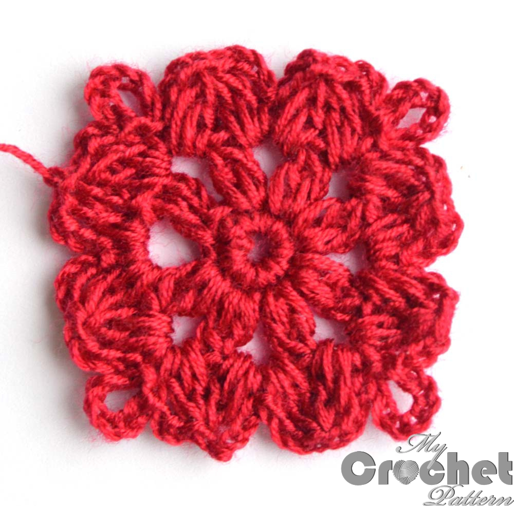 red crochet flower thic yarn - big photo