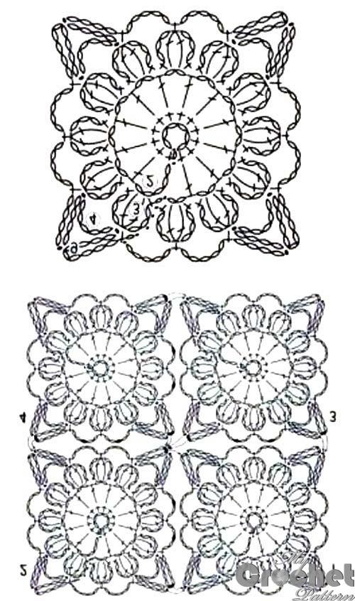 square orange flower motif pattern
